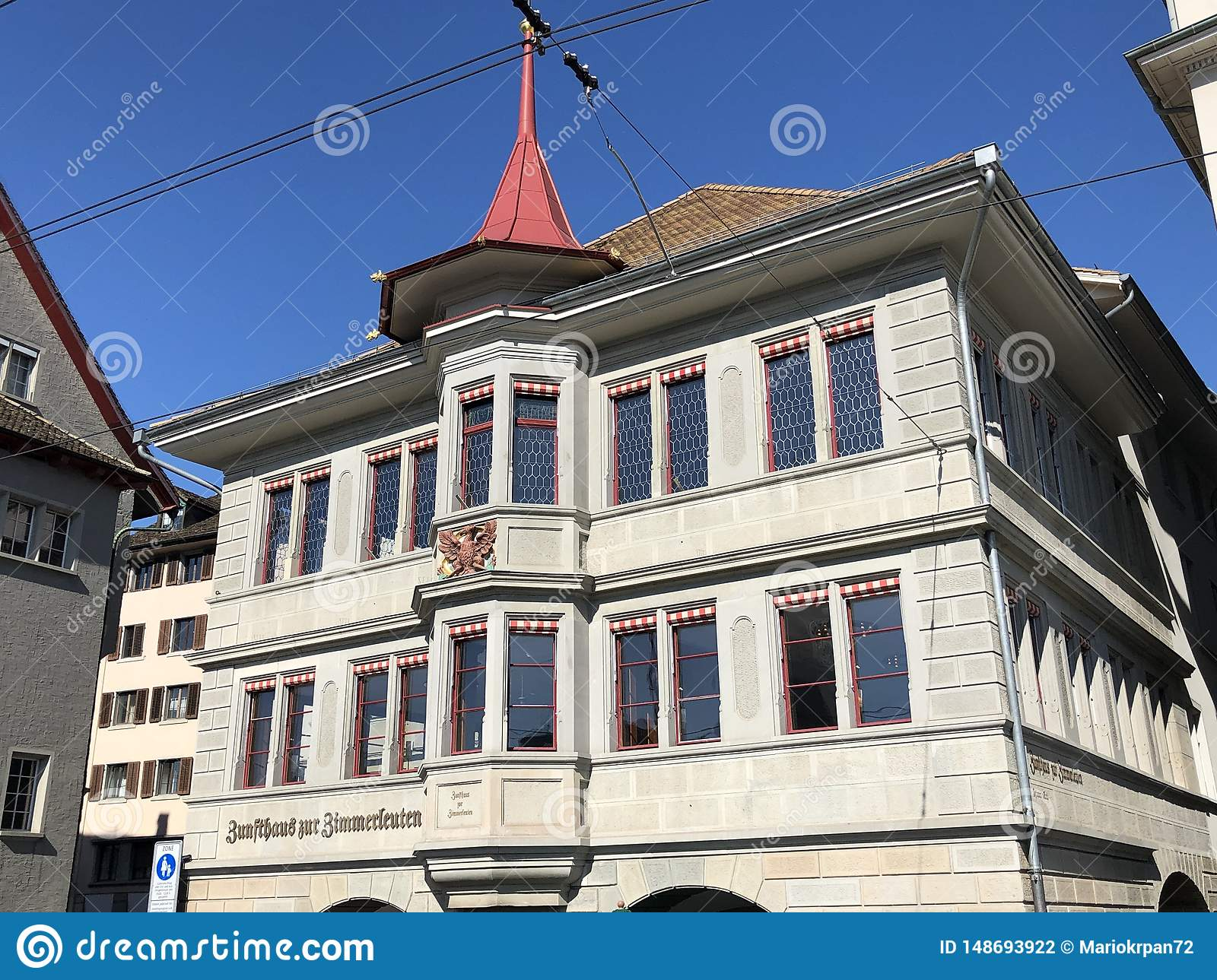 Traditional architecture and historic buildings in the Oldtown or Altstadt of Zurich