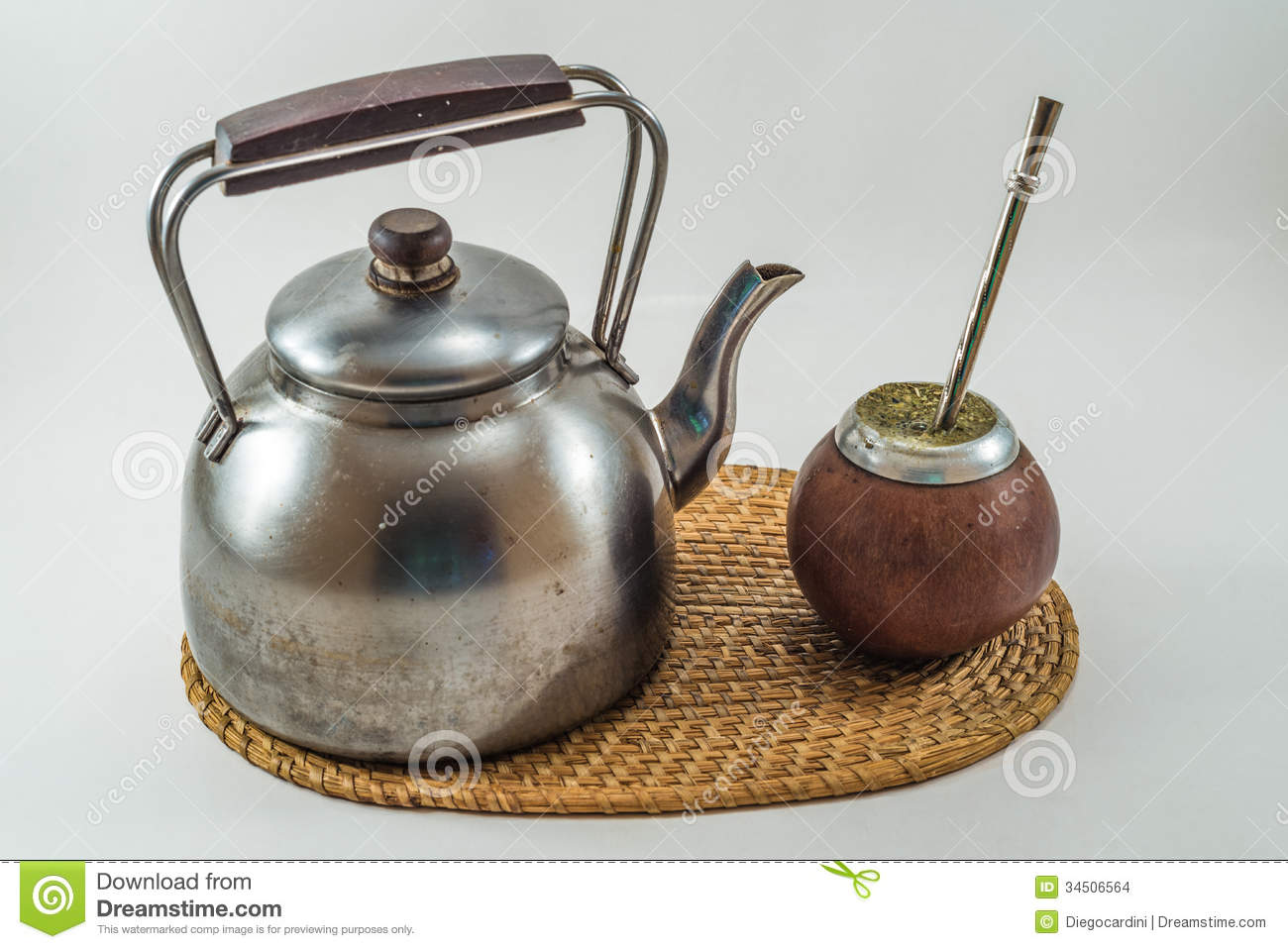 Traditional Argentinean Bevarage Mate With Kettle. Yerba Mate. B Stock ...