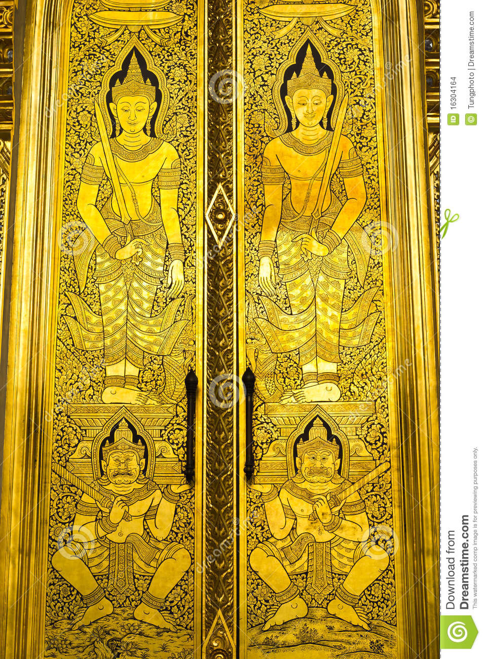 Traditional Art On Thai Temple Door Stock Photo Image