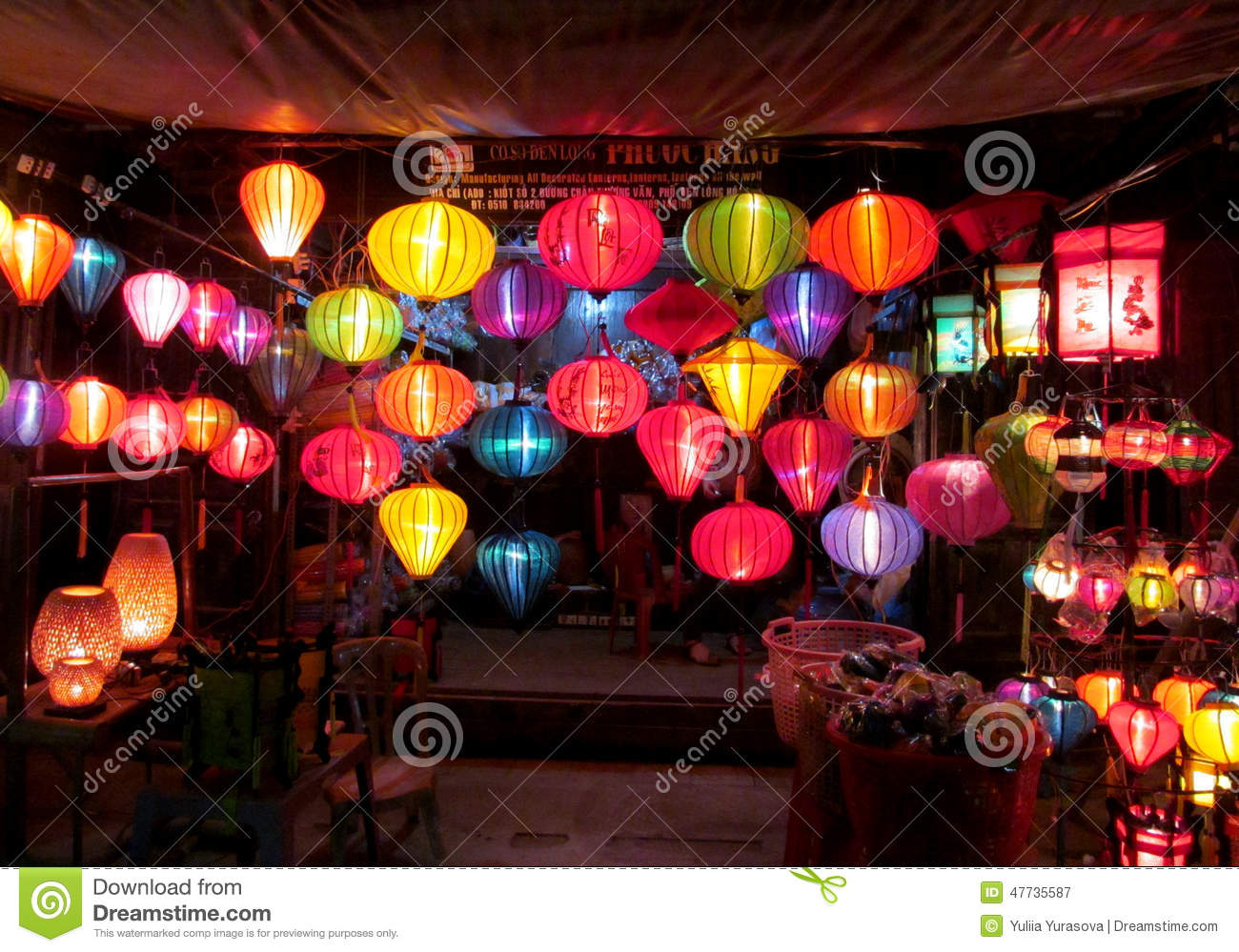 Traditional Asian Culorful Lanterns At Night Chinese ...