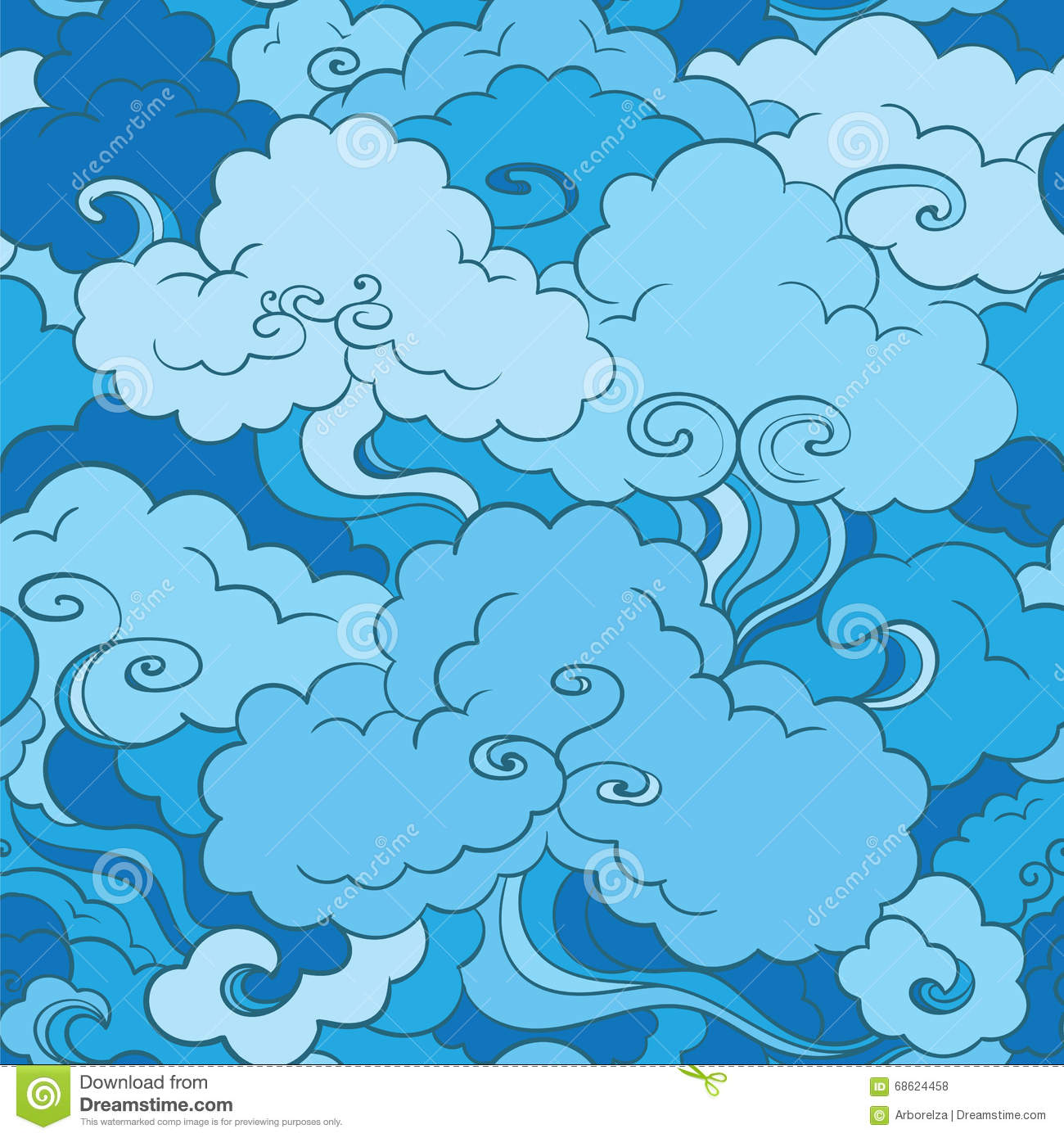 traditional asian seamless pattern with clouds stock
