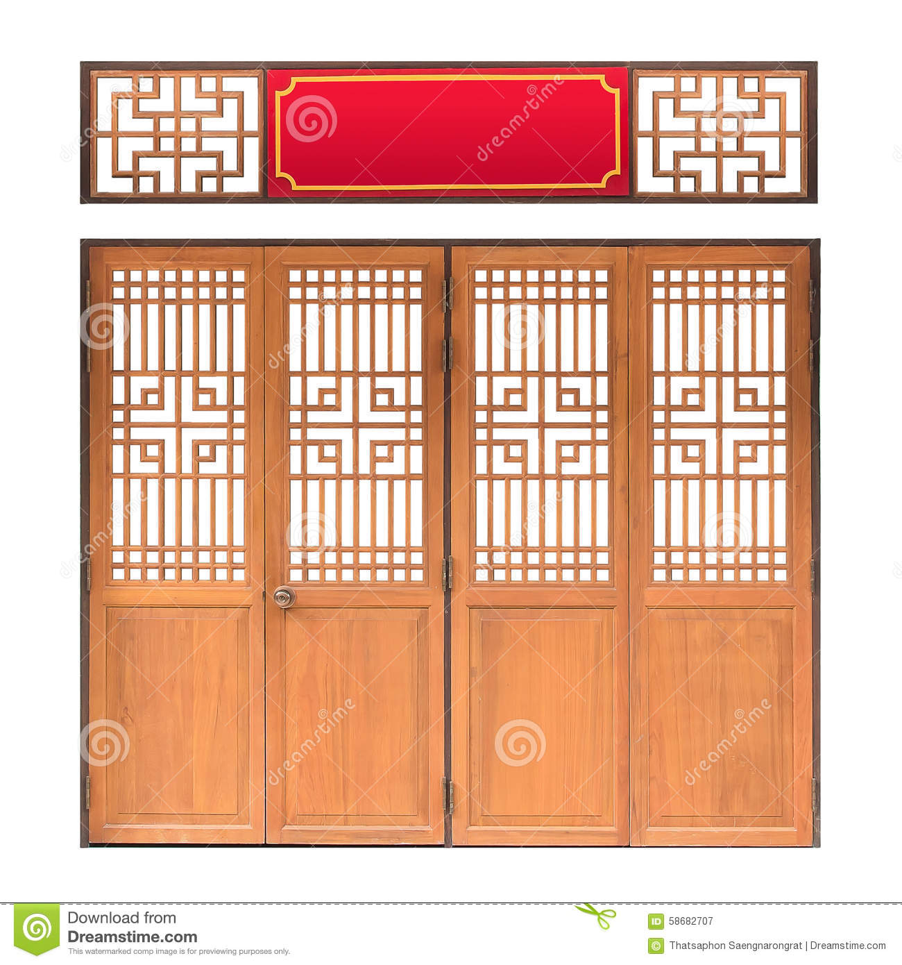 Traditional Asian Window And Door Pattern, Wood, Chinese ...