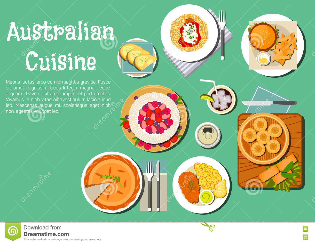 Traditional australian cuisine dishes flat icon stock for Australian food cuisine