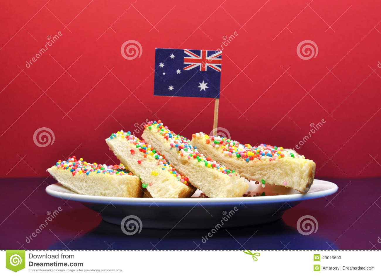 Traditional australian food fairy bread with flag for Australian traditional cuisine