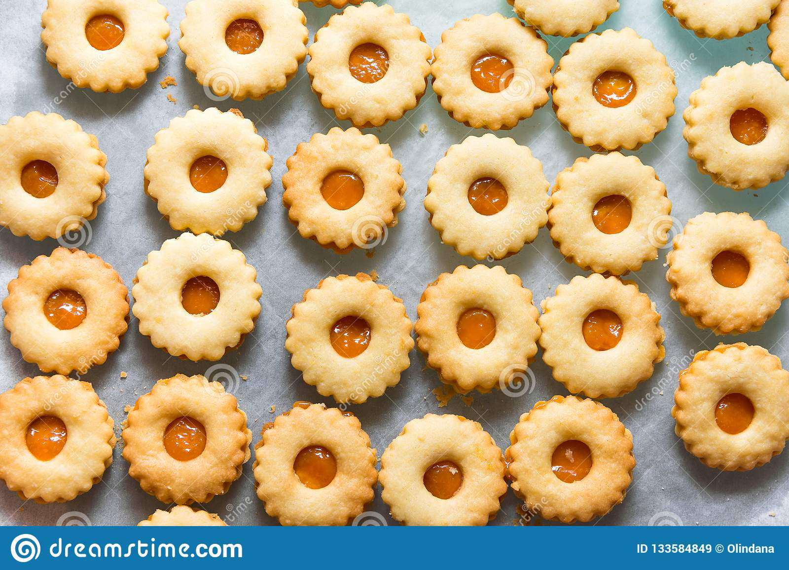 Traditional Austrian Home Baked Christmas Cookies Linzer Eyes With