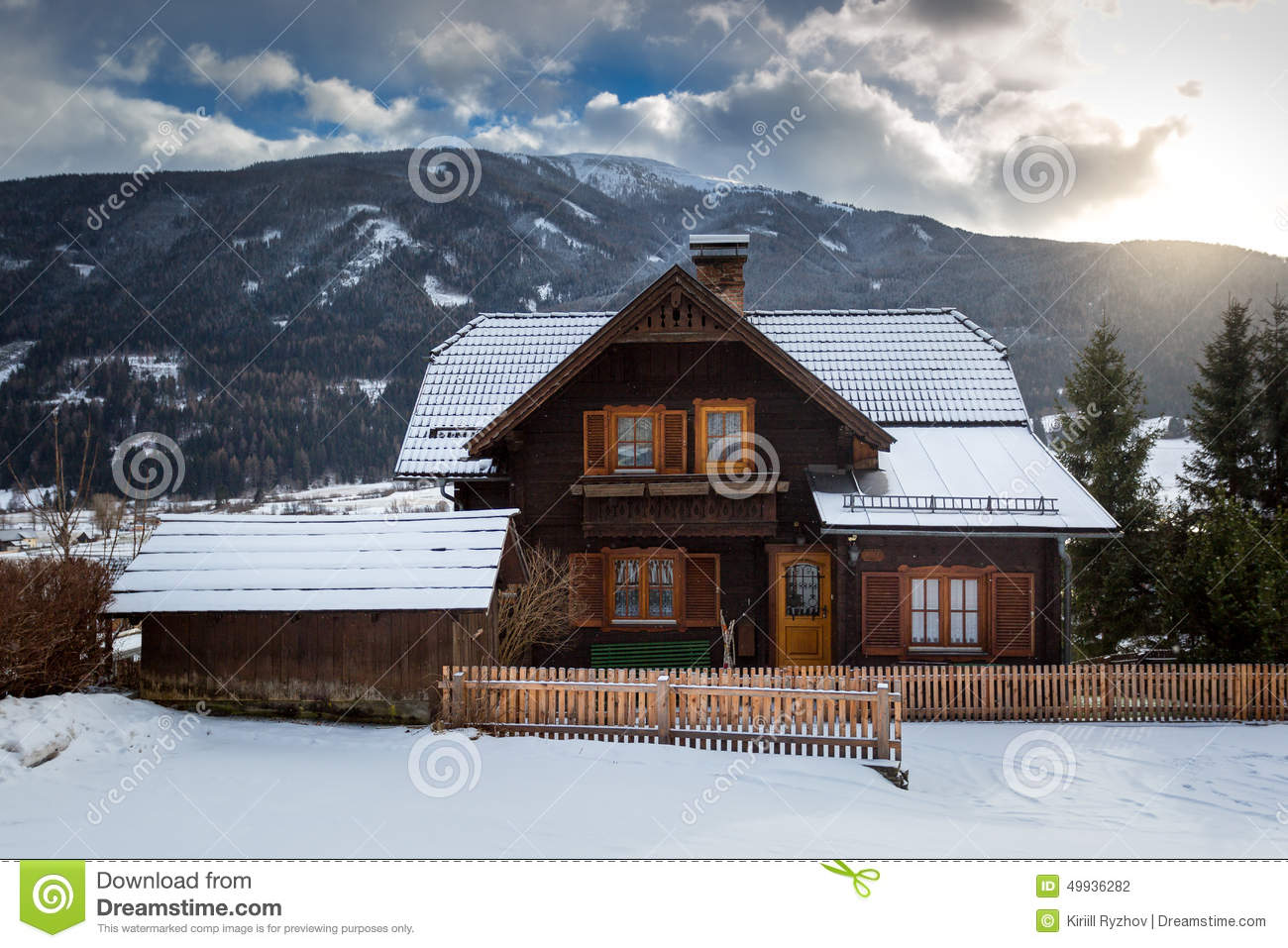 House In Snowy Mountain Alps Editorial Image 35925556 Austrian Style Plans Mountains Beauty