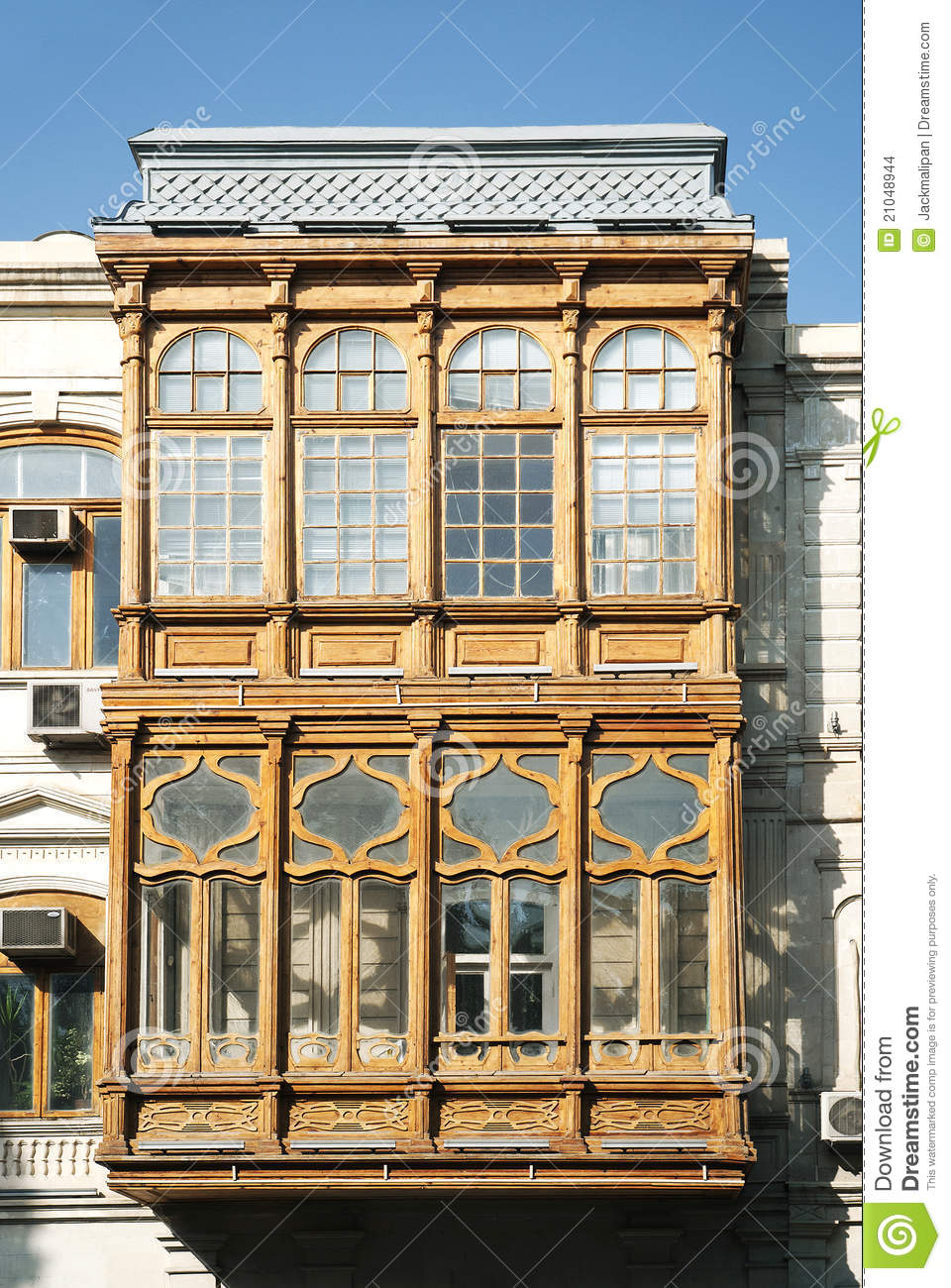 Traditional balcony architecture baku azerbaijan stock for Traditional balconies