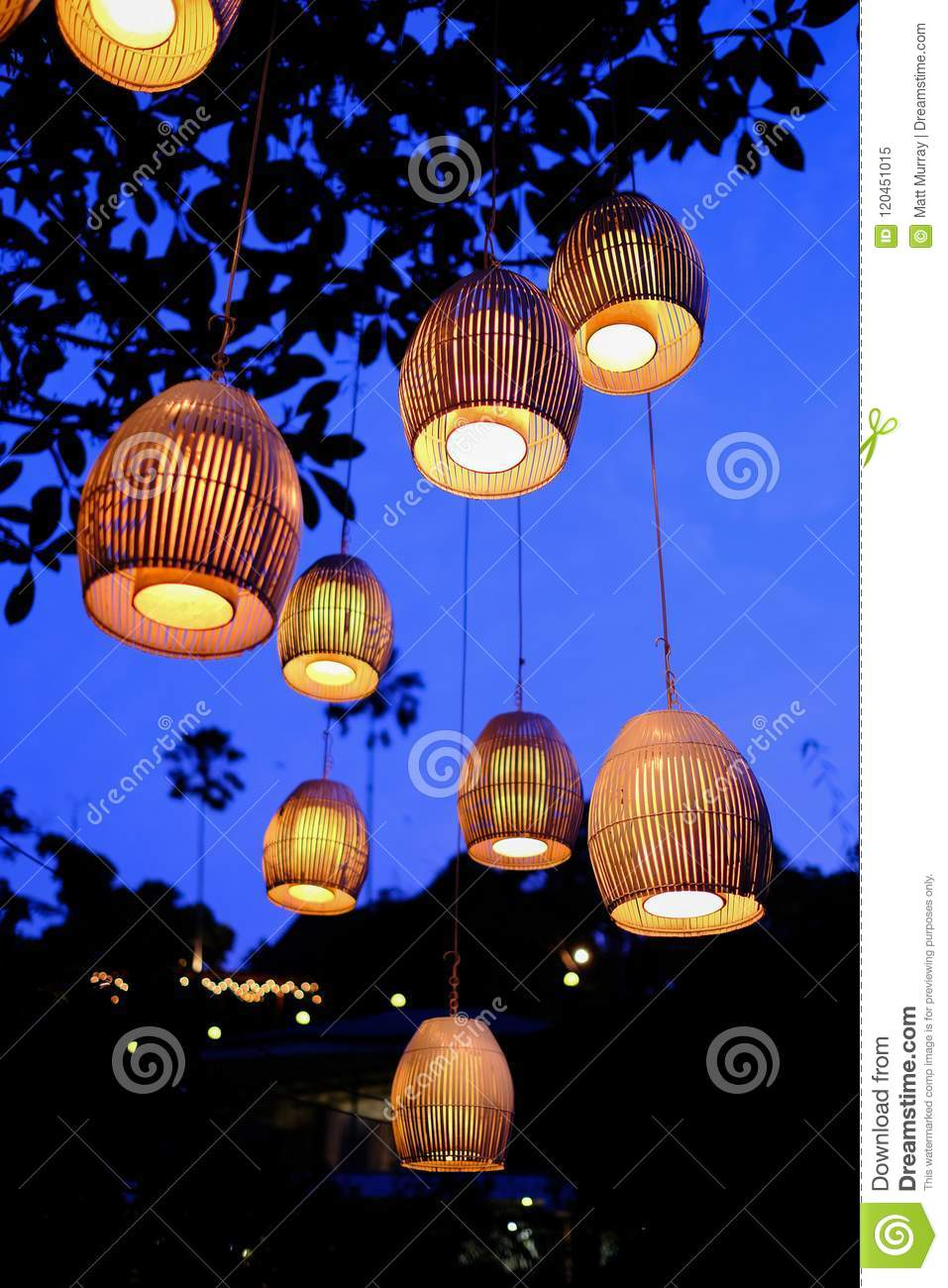 Traditional Balinese Lanterns Hanging From A Tree Stock Image Image Of Balinese Pretty 120451015