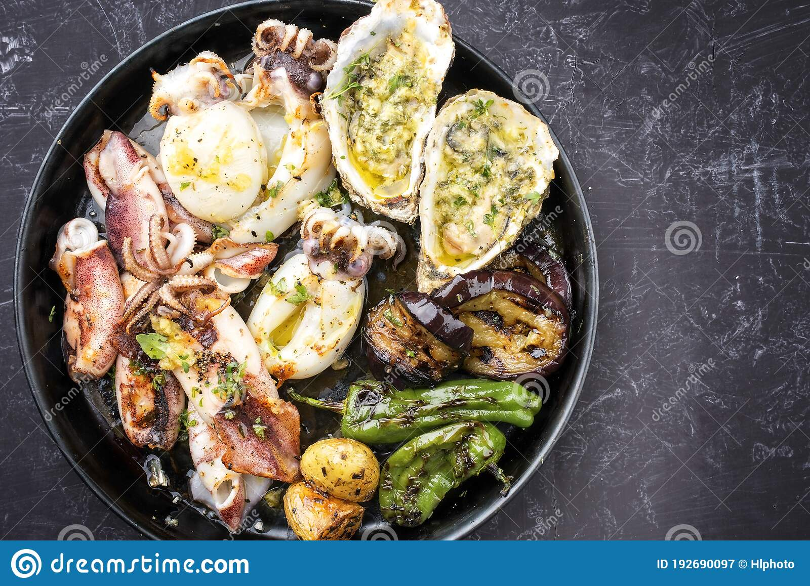 Traditional Barbecue Seafood Platter With Herb On A Plate Stock Image Image Of Offer Dish 192690097