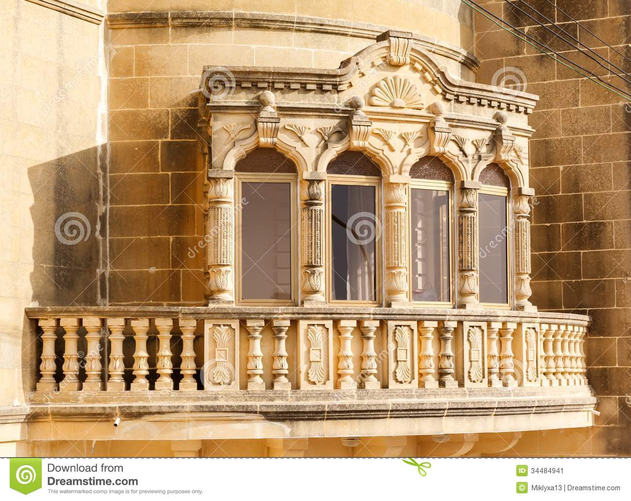 Traditional beautiful decorative balcony close up stock for Traditional balconies