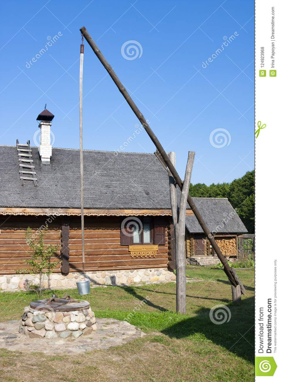 Traditional Belarusian well in ethnocultural complex Nanosy-Novoselye. It is historical recreat