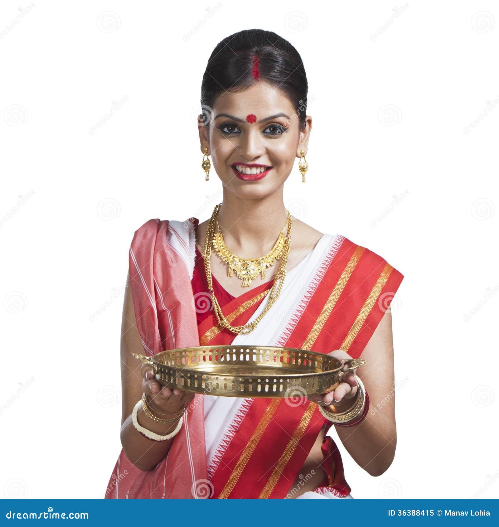 Traditional Bengali Woman Holding Pooja Thali Royalty Free