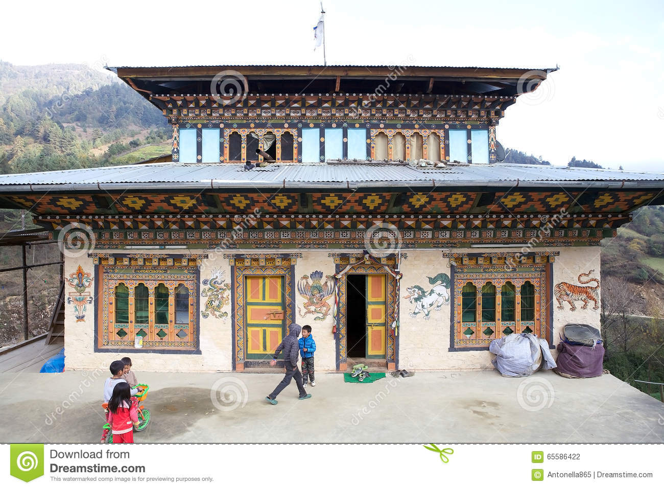 Traditional Bhutanese Rural House Bhutan Editorial graphy Image