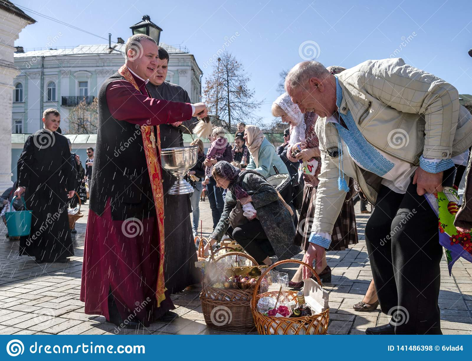 Traditional blessing of Easter foods in the St. Michael`s Golden-Domed Monastery