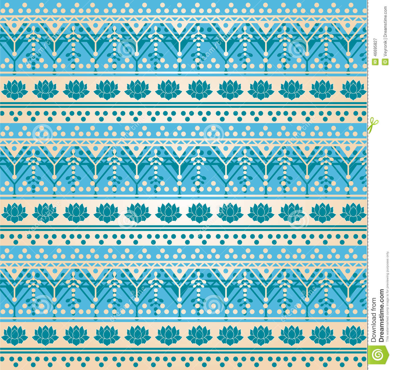 Traditional Blue Henna Lotus Pattern Background Stock Vector