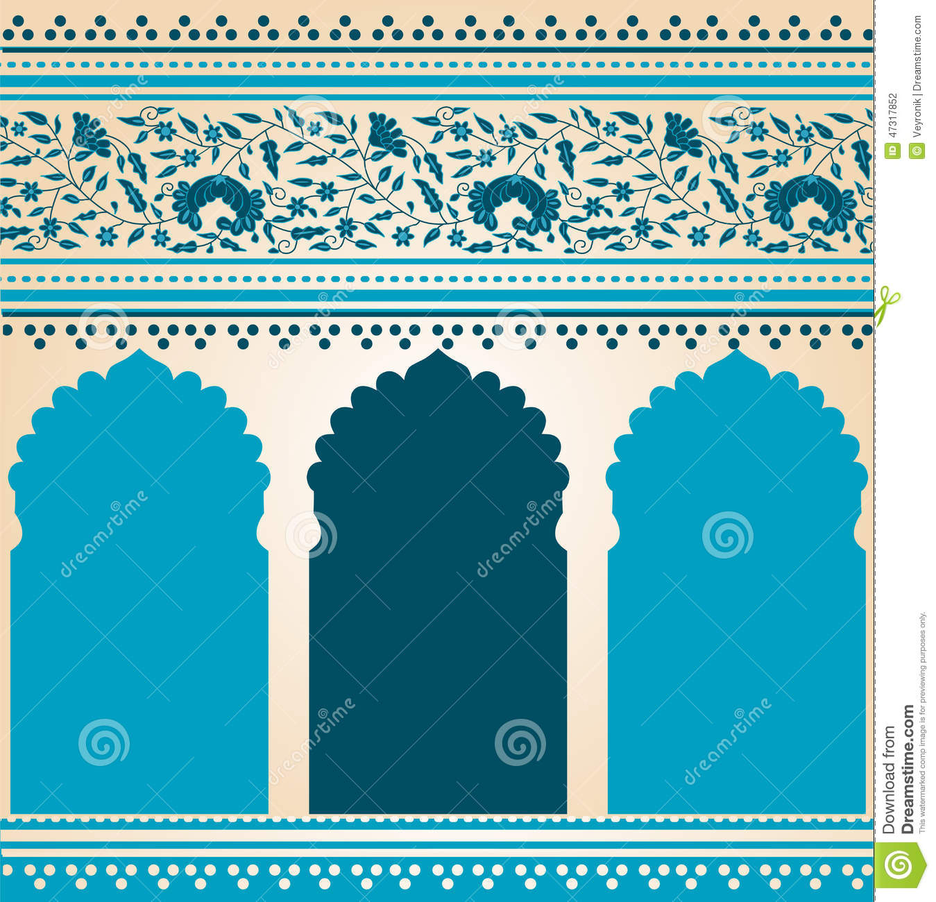 Traditional blue indian saree temple design stock vector for Architecture orientale