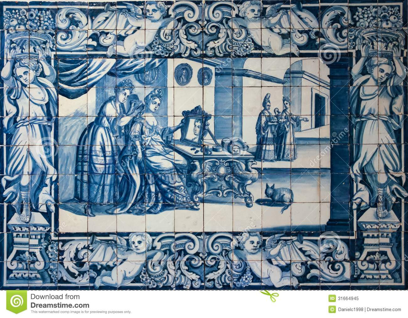 Traditional Blue Tiles Or Azulejos Decorated With A