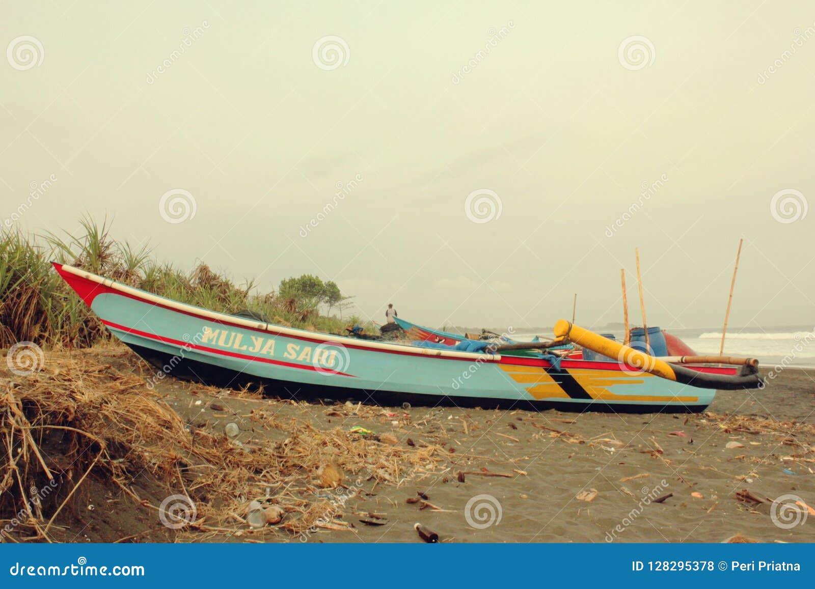 Traditional Boat in Fisherman Village Bojongsalawe Beach