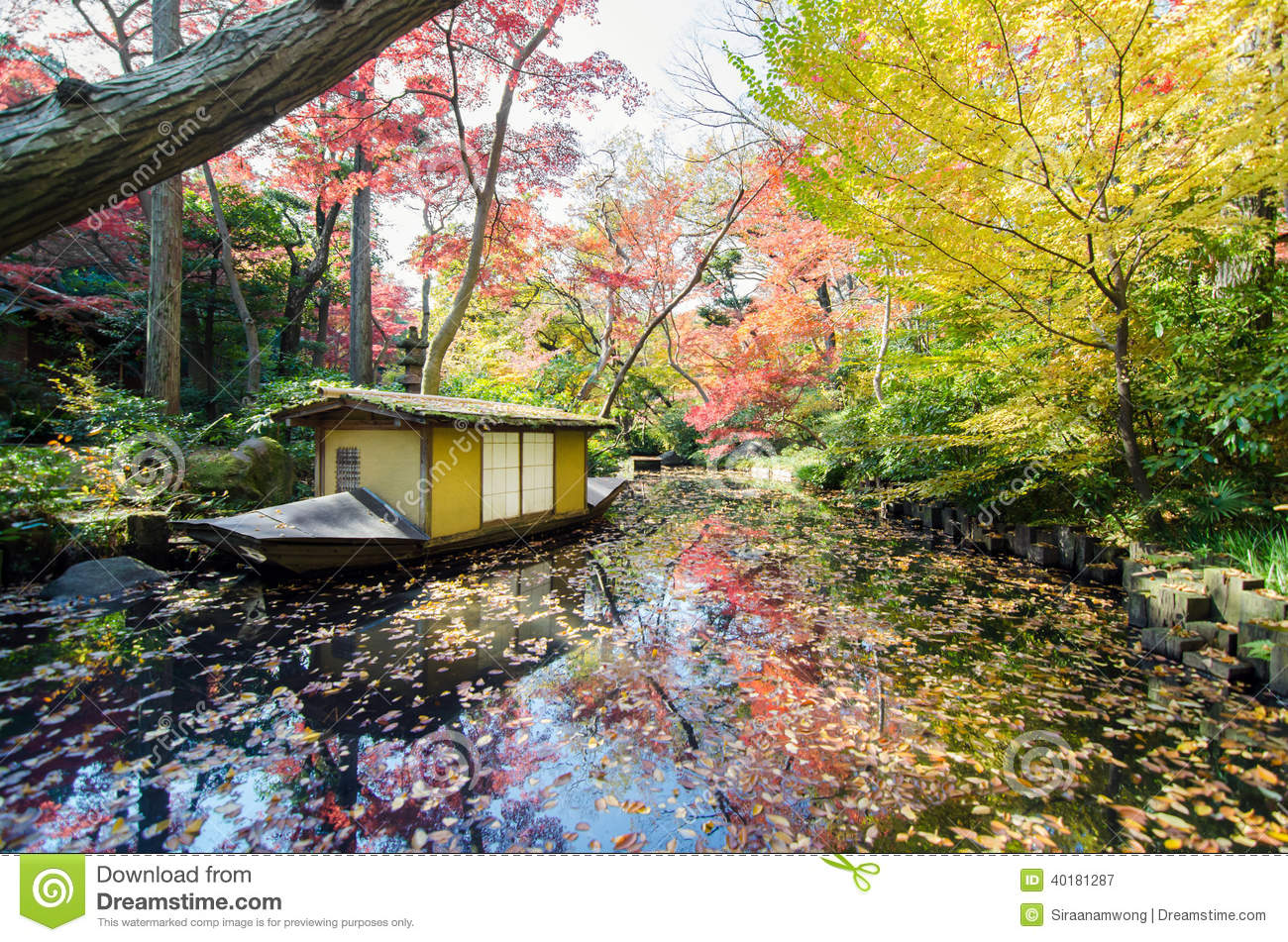 Traditional boat in japanese garden stock photo image for Traditional japanese garden