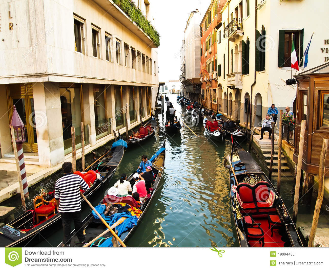 Traditional Boats At Narrow Streets , Venice Italy Editorial Image ...