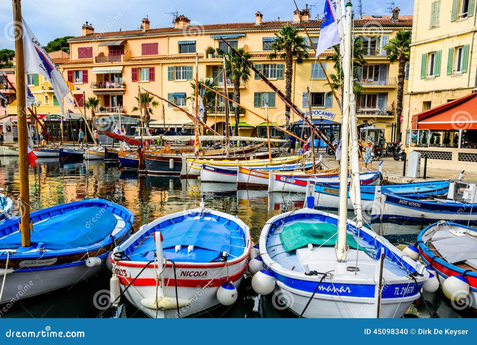 traditional boats in port of sanary sur mer var france editorial image image 45098340. Black Bedroom Furniture Sets. Home Design Ideas