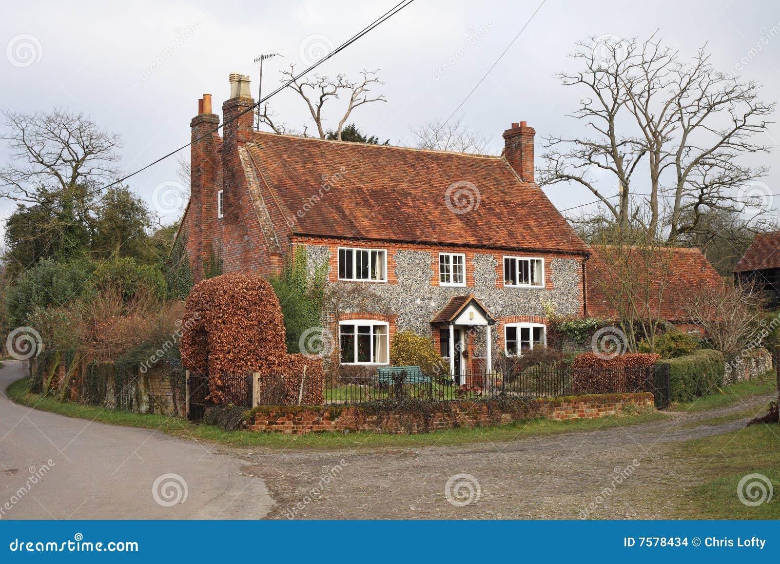 Traditional Brick And Flint English Farmhouse Stock Image