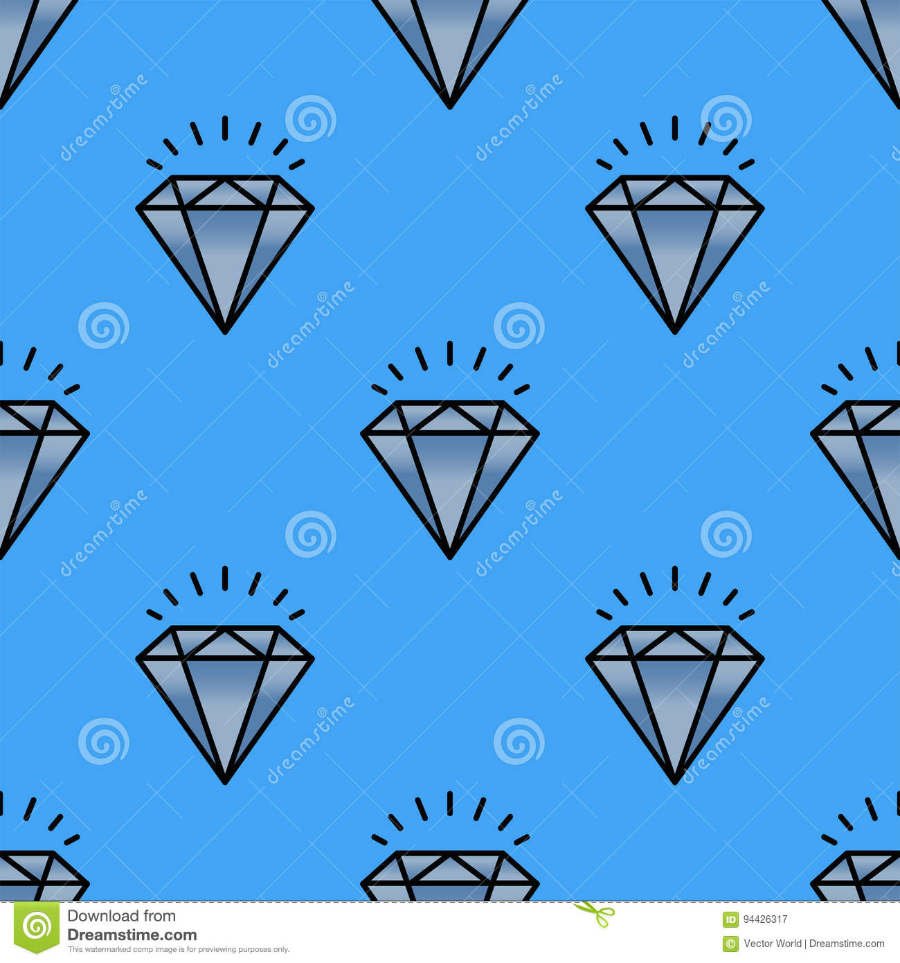 Traditional brilliant jewellery seamless pattern diamond luxury fine minute precious gold jewelery vector illustration