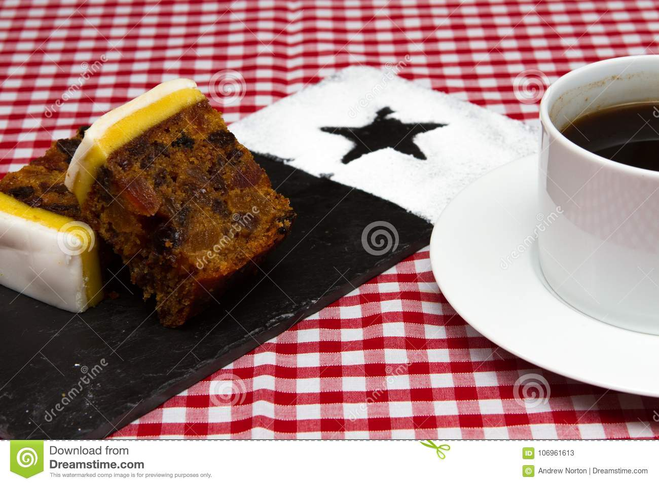 British Christmas Cake.Traditional British Birthday Or Christmas Fruit Cake Stock