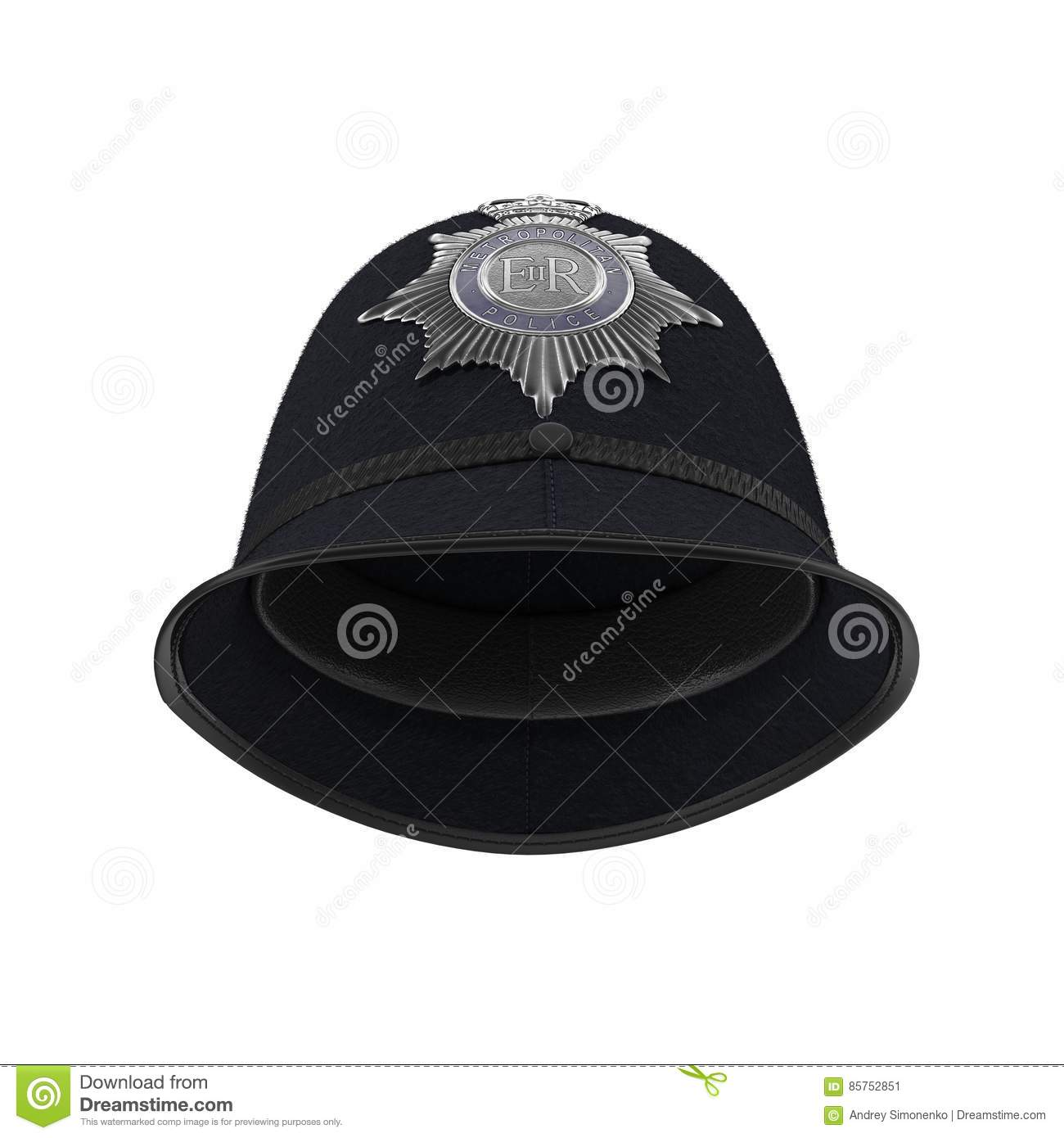 Traditional british police helmet isolated on white. 3D illustration