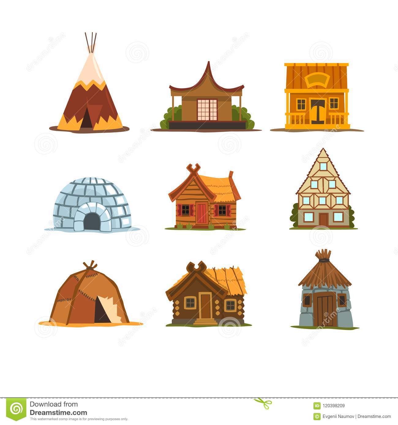 Traditional Buildings Of Different Countries Set, Houses