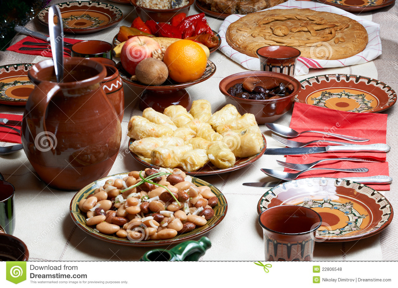 Traditional bulgarian christmas food royalty free stock photos image