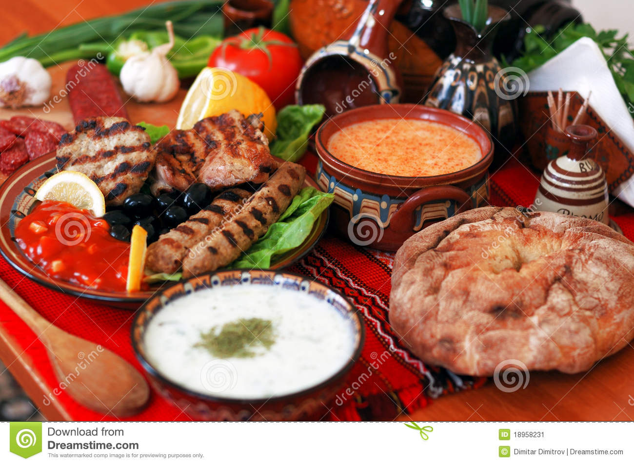 Dining Table With Food traditional bulgarian dining-table stock image - image: 18958231