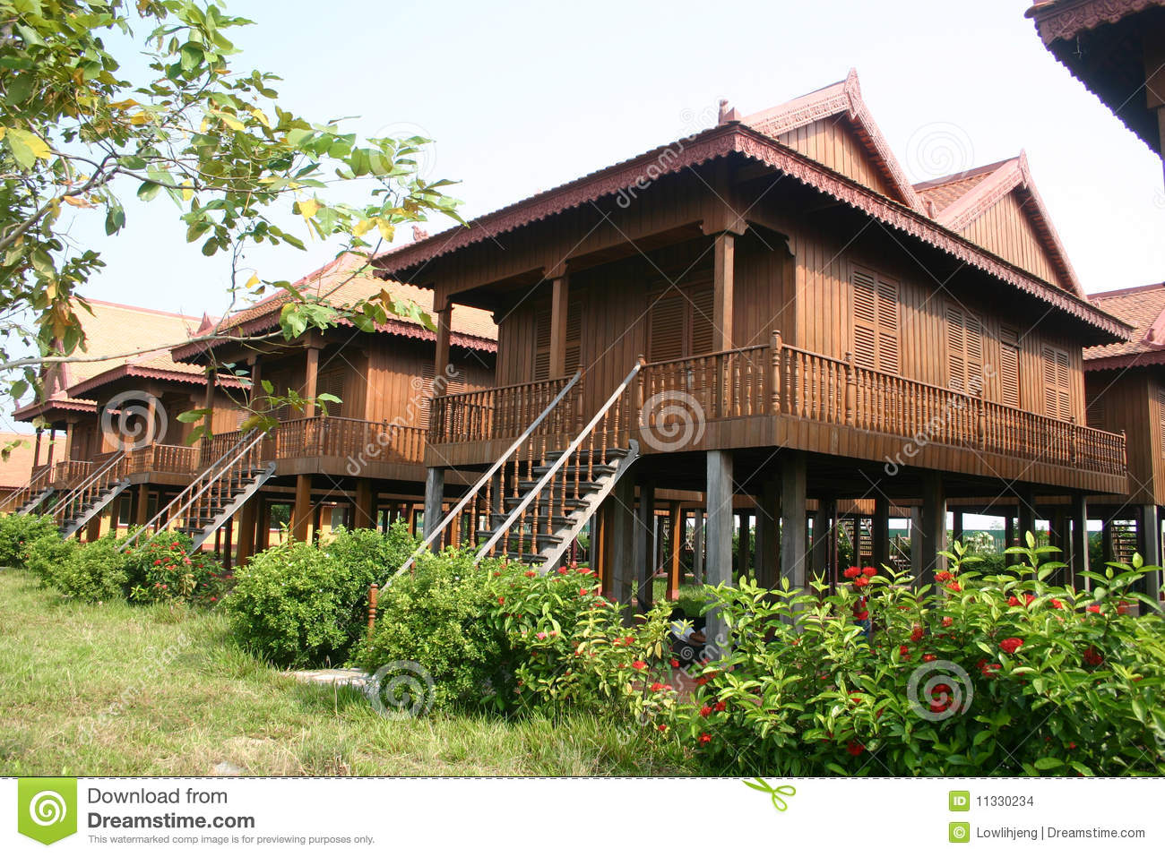 traditional cambodian wooden houses stock photo   image of