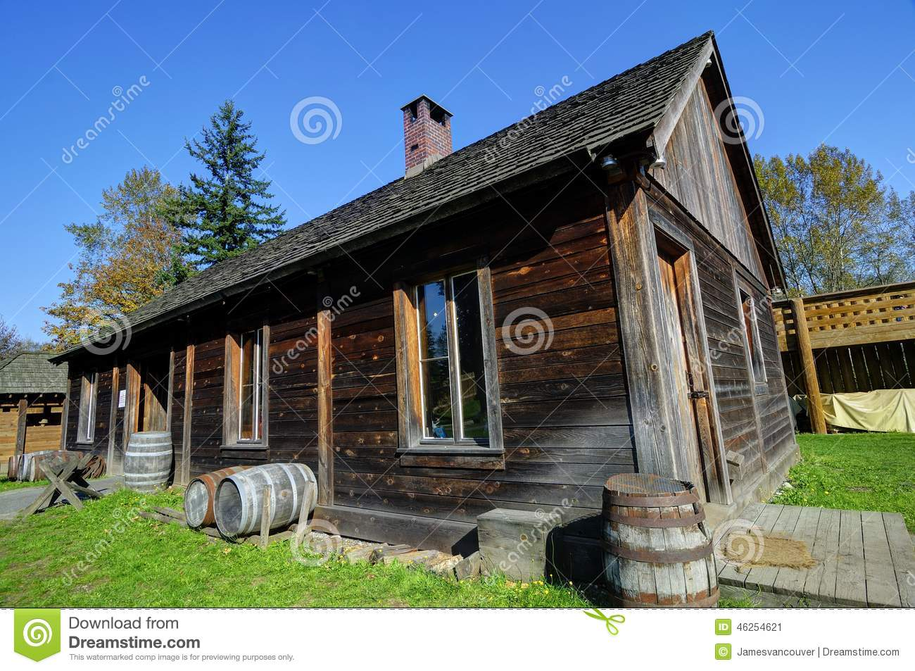 Traditional Canadian Rural House From Old Times Stock