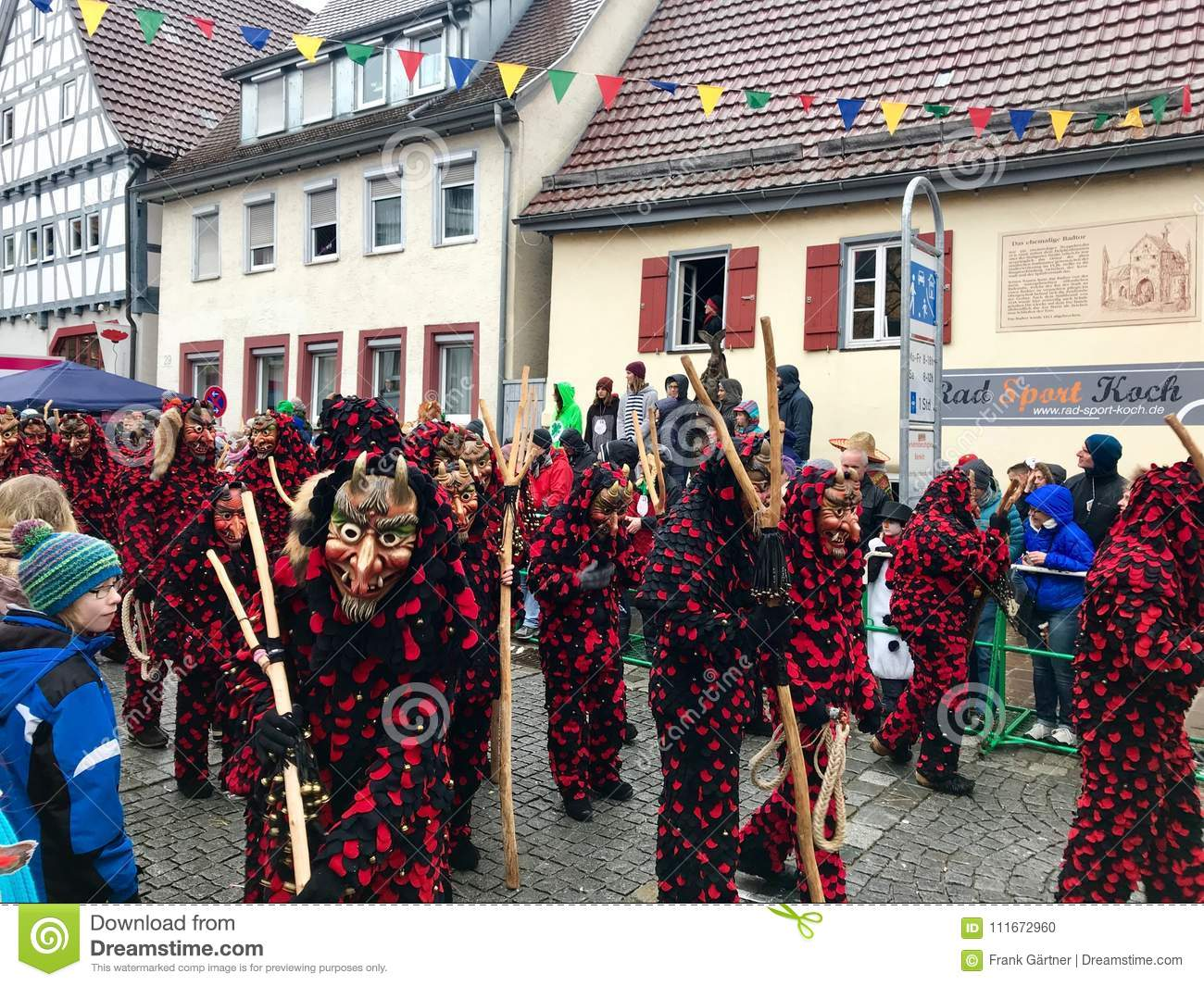 Traditional carnival in South Germany - Swabian-Alemannic Fastnacht. Witches costumes during the carnival procession.