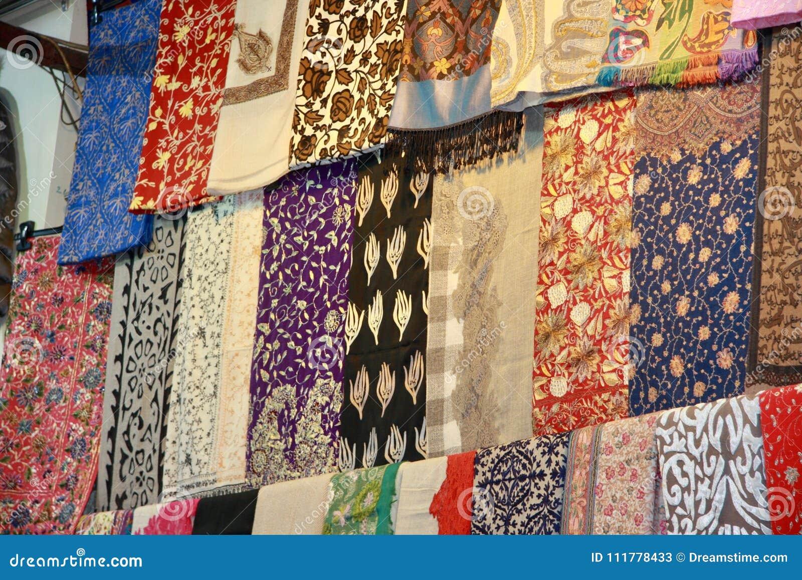 Traditional cashmere skarfs on Grand Bazaar, Istanbul.