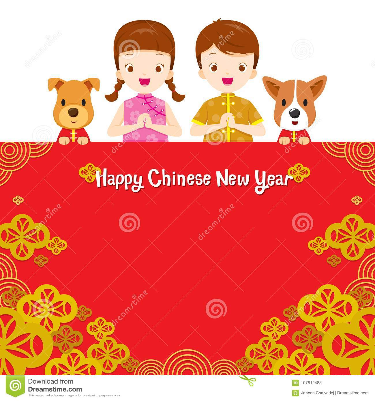 happy chinese new year border with children