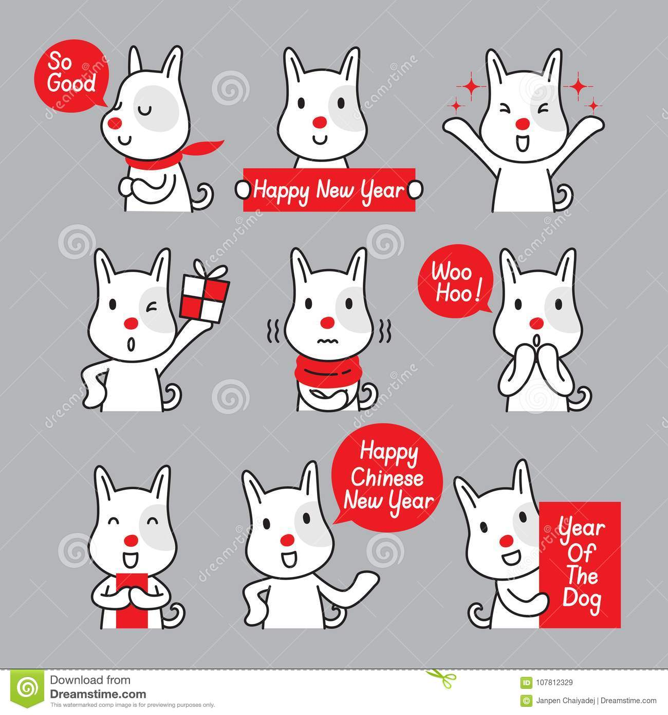 Dog Emoticons Icons Set, Year Of The Dog Stock Vector