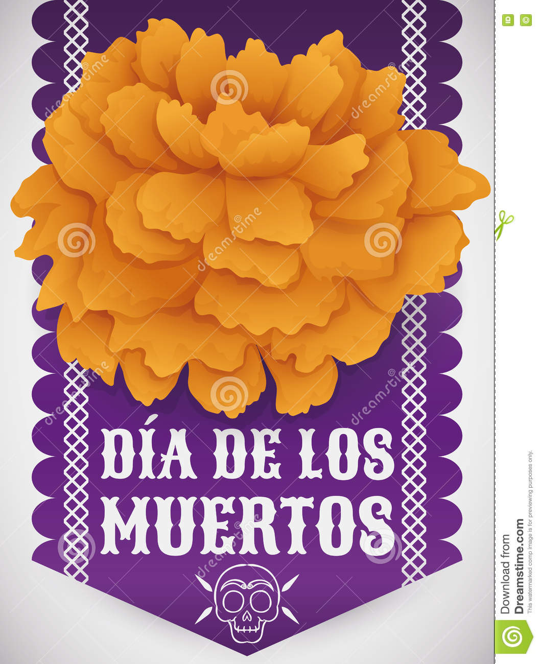 Traditional Cempasuchil Flower Over Tissue Paper For Dia De Muertos