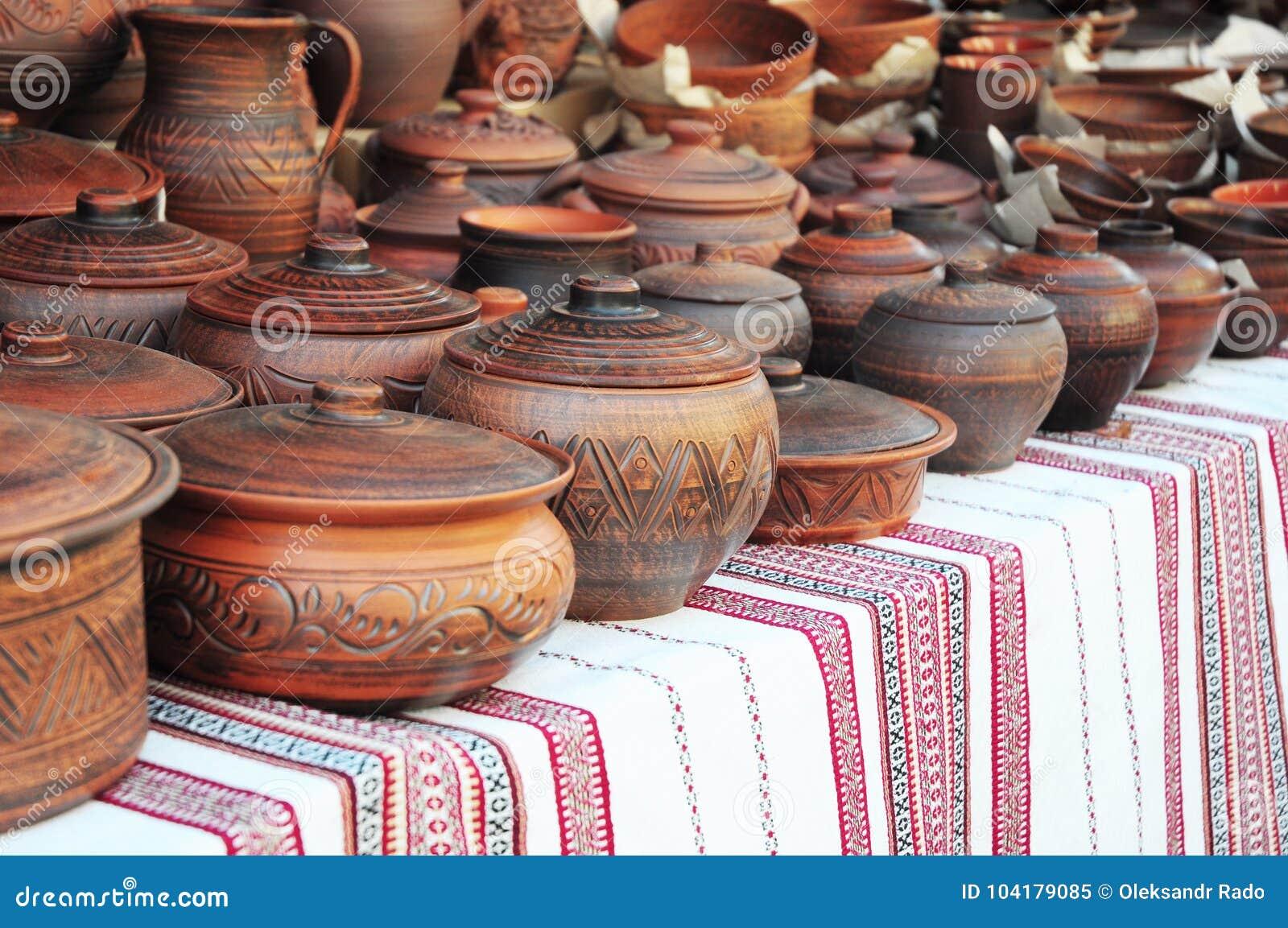 Handmade Pottery. Traditional Ceramic Jugs. Handmade Ceramic Pottery With Ceramic  Pots And Clay Plates. Stock Image - Image of still, outdoor: 104179085