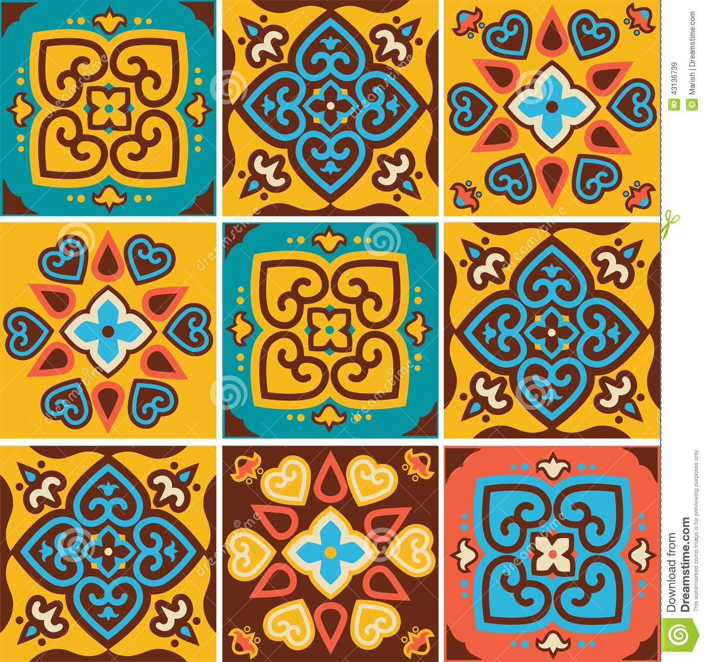 Traditional Ceramic Tiles Patterns Stock Photo Image