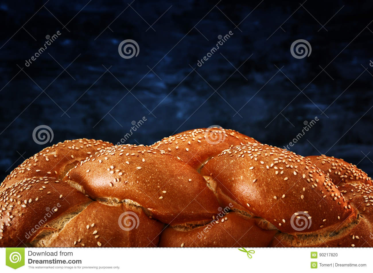 Traditional challah bread close up image