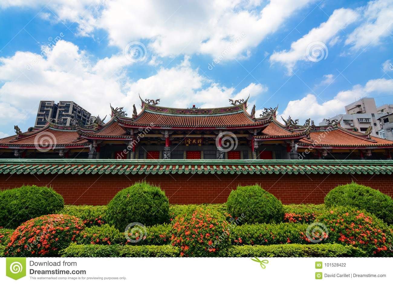 traditional chinese architecture of xingtian temple contrasts with