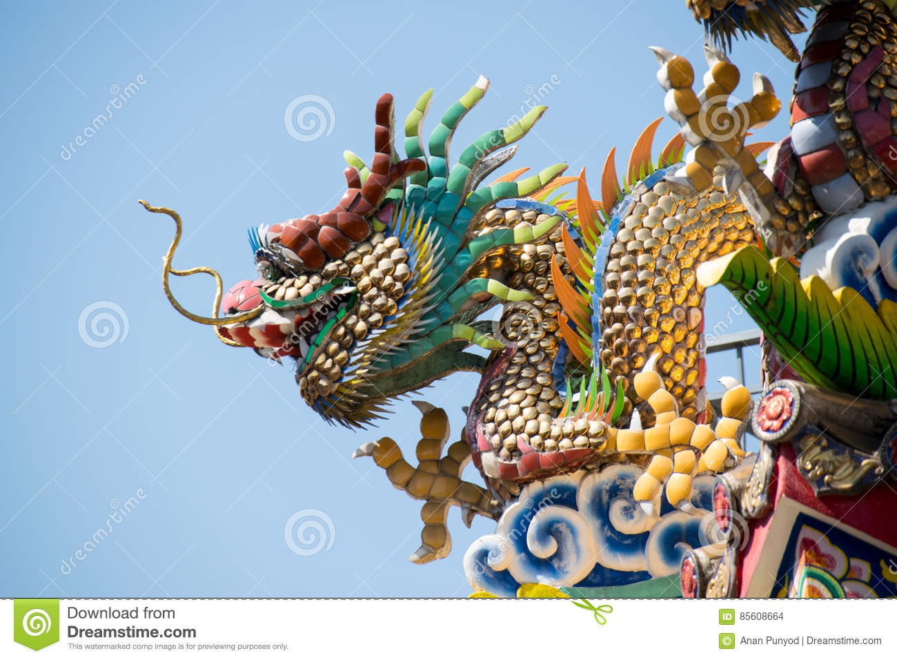 Traditional Chinese Ceramic Dragon sculpture on Roof Shrine