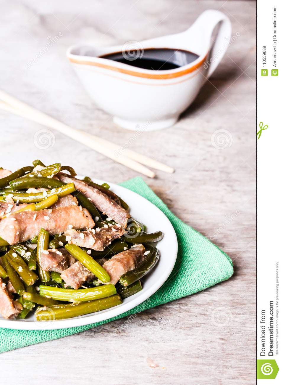 Traditional Chinese Dish With Roasted Pork, Garlic, Ginger