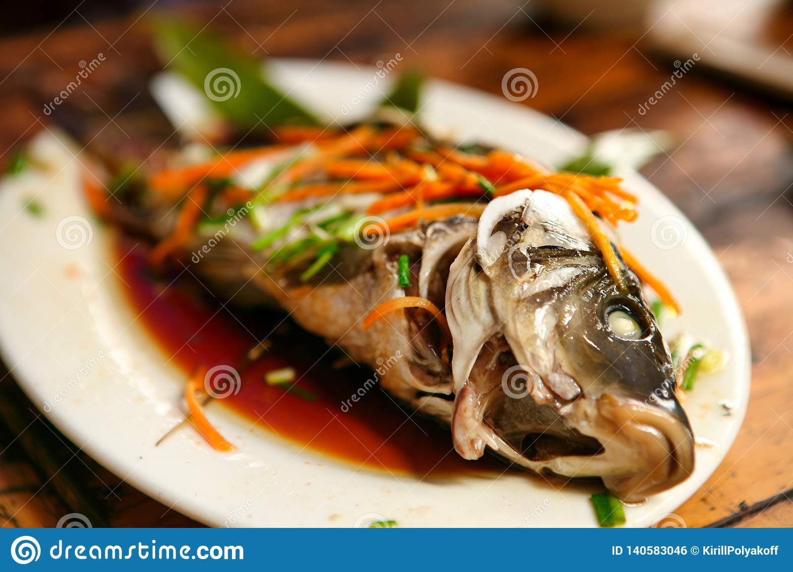 The traditional Chinese dishes of the village are Dazhay steamed fish with soy sauce and vegetables.