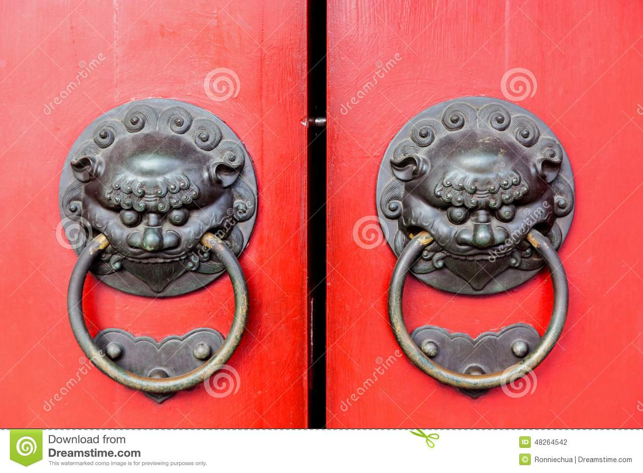Traditional Chinese Doors With Brass Handles Stock Photo Image Of