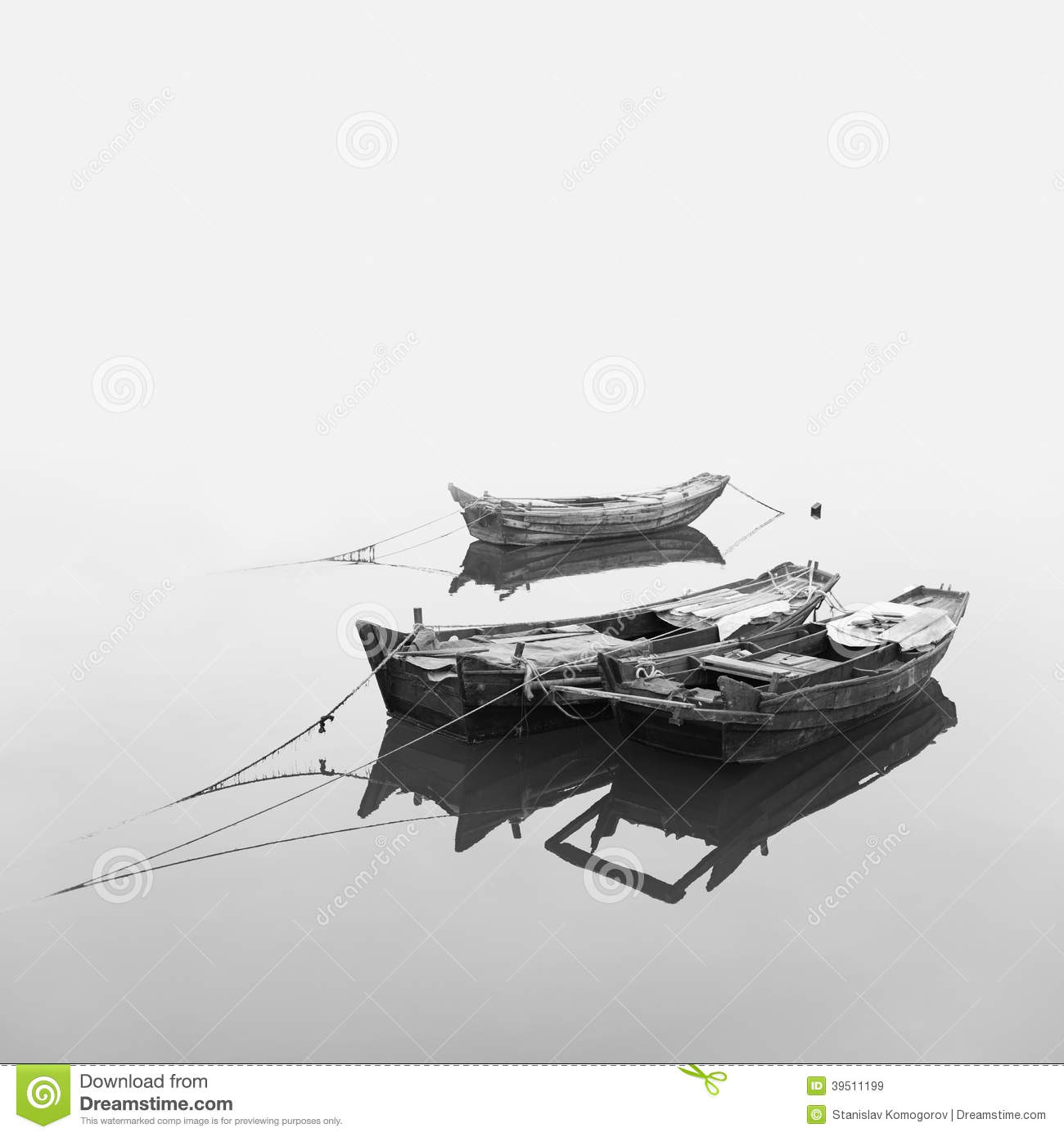 Traditional Chinese fishing boats out of wood