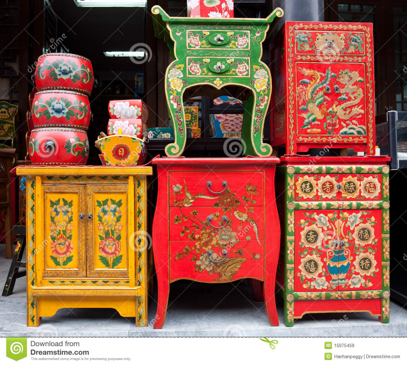 Traditional Chinese Furniture Shop Royalty Free Stock