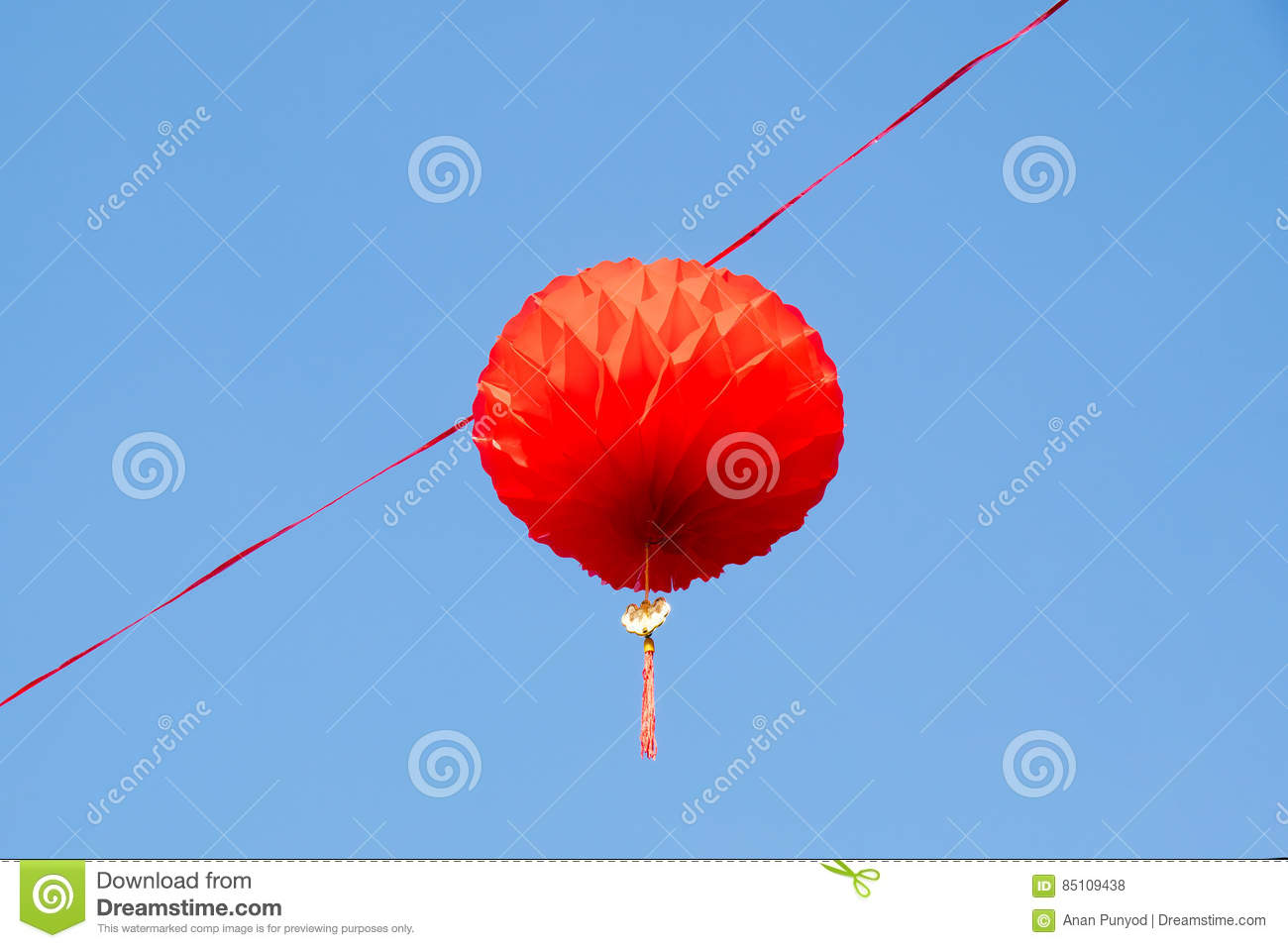 Traditional Chinese Hanging Red Paper Lantern in Chinese new year day